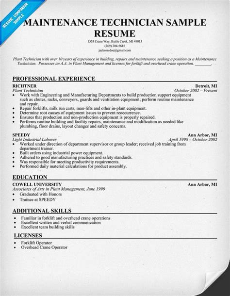 Technician Skills Resume by Maintenance Technician Resume Sle Resumecompanion