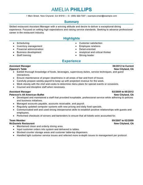 Resume For Assistant Restaurant Manager by Best Restaurant Assistant Manager Resume Exle From