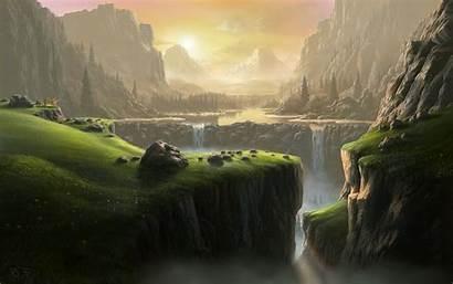 River Fantasy Landscape Waterfall Mountain Desktop Background