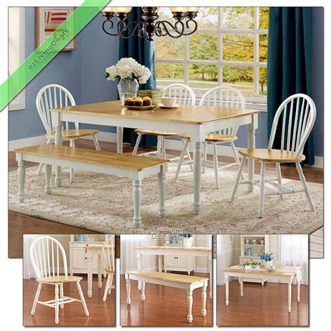 pc dining set farmhouse wood table bench chairs country