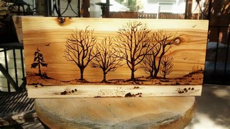 pyrography wood burning art mountain abstact pine scene