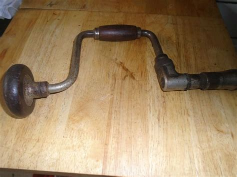 antique vintage tool wood handles bit brace hand drill