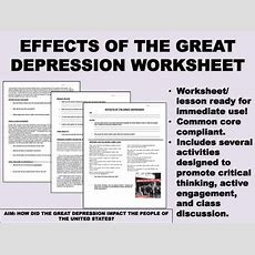 Effects Of The Great Depression Worksheet  Us History Common Core