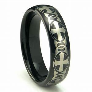 Black tungsten carbide laser engraved celtic cross dome for Tungsten celtic wedding ring
