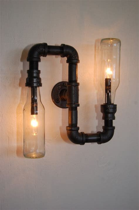 industrial wall vanity light steunk pipe l by