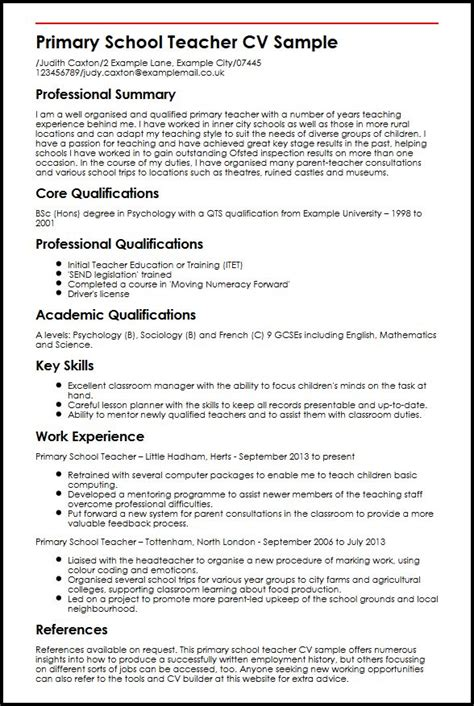 Curriculum Vitae Templates Teachers by Primary School Cv Sle Myperfectcv