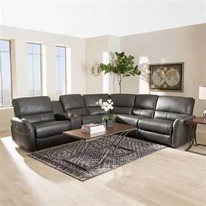 Baxton studio amaris 5 piece grey leather reclining for 5 piece grey sectional sofa