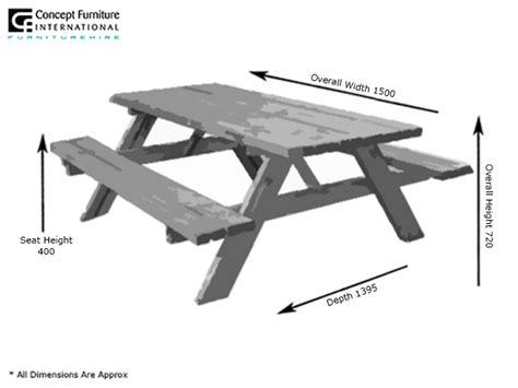 Picnic Bench Dimensions by Picnic Table Hire Concept Furniture Table Hire