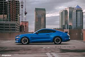 Velocity Blue Ford Mustang S550 Rocking Forgestar D5 Drag Pack Wheels