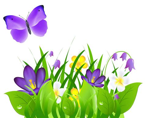 time flowers spring time grass flowers butterflies png 3366x2731 clip art everyday for cards