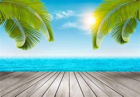 vacation background with palm trees and blue sea nature best gfx