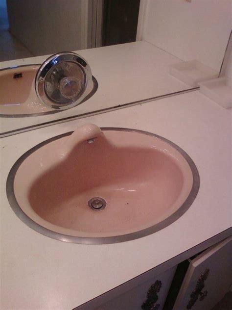 pink kitchen sink strange 1962 bathroom sink retro renovation 1501