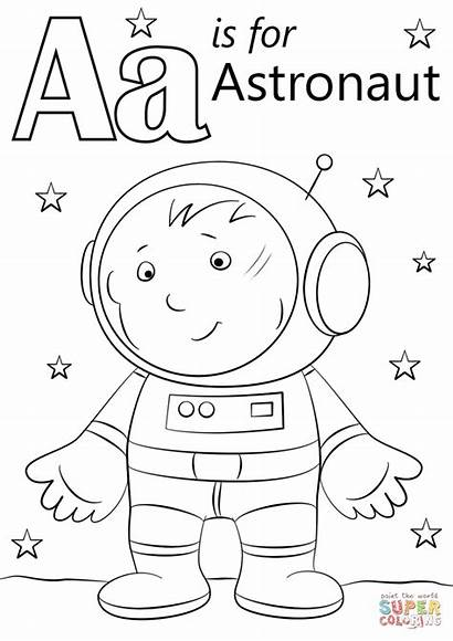 Astronaut Coloring Letter Pages Airplane Printable Crafts