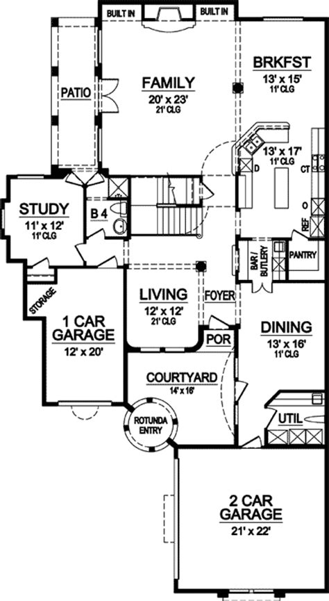 narrow lot stunner  courtyard tx architectural designs house plans