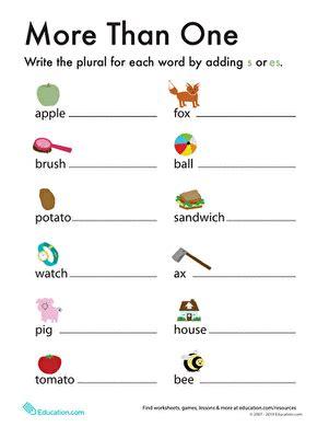 plurals add quot s quot or quot es quot worksheet education