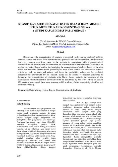 (PDF) KLASIFIKASI METODE NAIVE BAYES DALAM DATA MINING