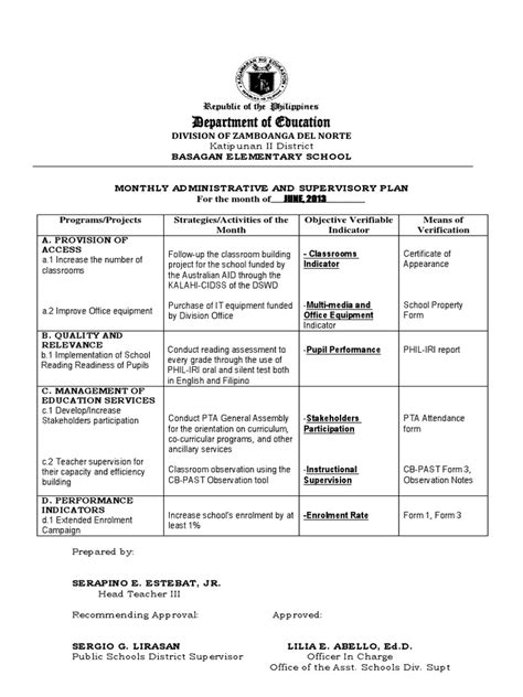 monthly administrative  supervisory plandocx state