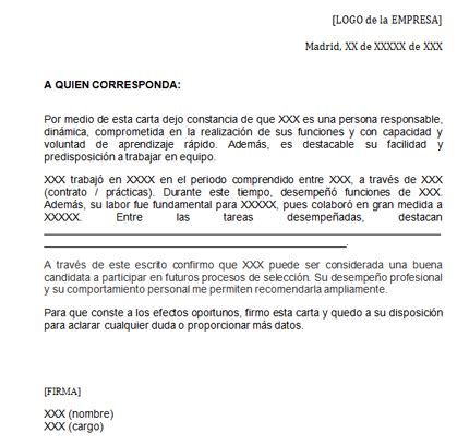 recommendation letter  spanish   student