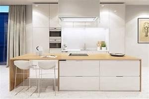 Ilot Cuisine Bois : cuisine en bois moderne et blanche en 33 exemples ~ Teatrodelosmanantiales.com Idées de Décoration