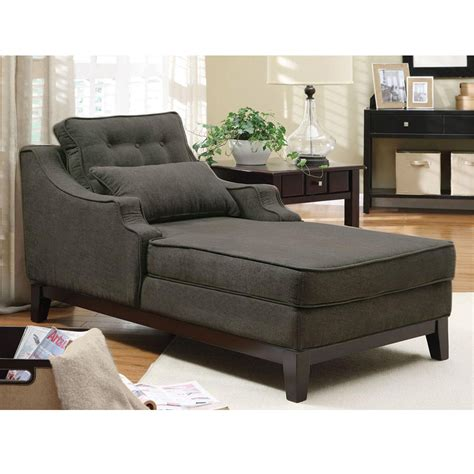 grey chaise lounge comfortable seating upholstered chaise grey fabric solid