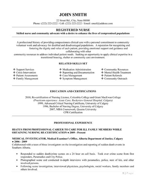 Nursing Skills Resume by Registered Resume Exles Best Resumes