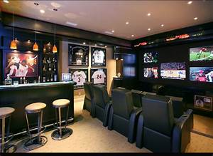 Man cave living room design newhairstylesformen2014com for Sports man cave