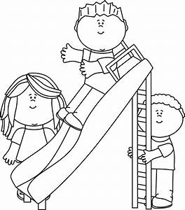 Black and White Kids Playing on a Slide Clip Art - Black ...