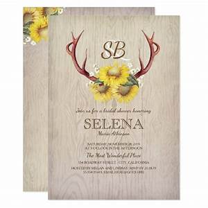 Deer Live Weight Chart Deer Antlers And Sunflower Rustic Bridal Shower Invitation