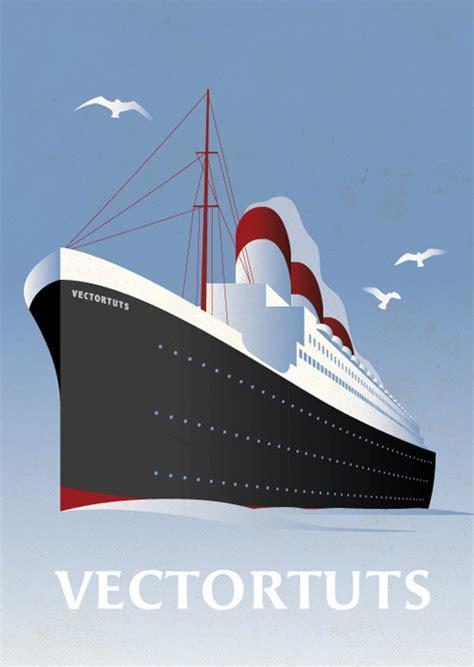 create  vintage ocean liner poster