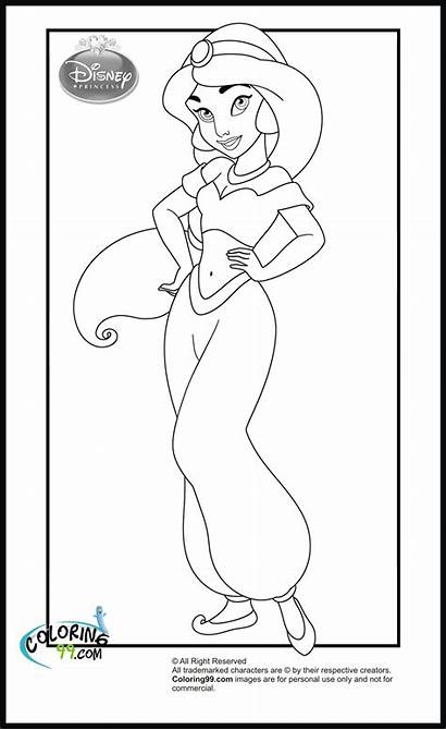 Princess Disney Jasmine Coloring Pages Clipart Template