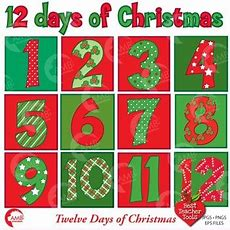 Christmas Numbers Clipart, 12 Of Christmas Numbers Clipart, Amb353