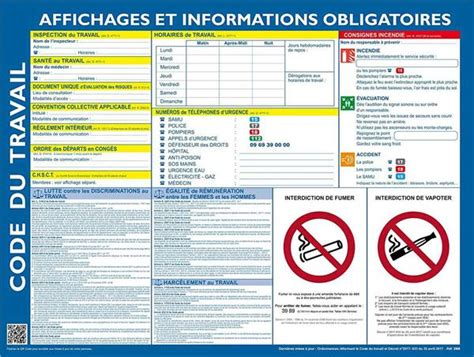 affiche obligatoire code du travail  direct signaletique