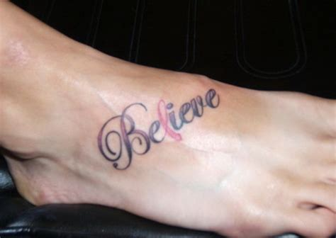 breast cancer  tattoos  ribbon cancer tattoo   foot breast cancer