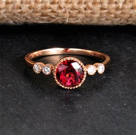 1 carat ruby and engagement ring in yellow gold jeenjewels