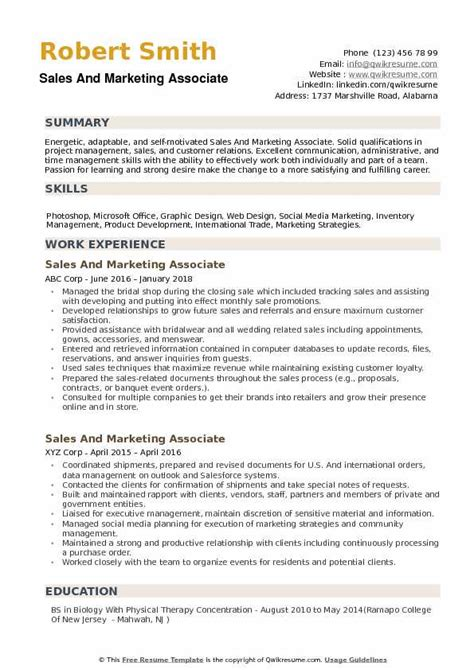 Sales Associate Qualifications Resume by Sales And Marketing Associate Resume Sles Qwikresume