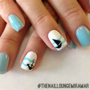 Nail art blue nailart sailboats gel nails skull and