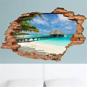 Stickers Muraux Trompe L Oeil : sticker trompe l 39 il plage palmier et bungalow pas ~ Dailycaller-alerts.com Idées de Décoration