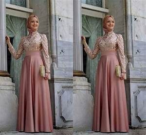 soiree hijab dresses high neck long sleeve a line floor With robe longue manche longue hijab