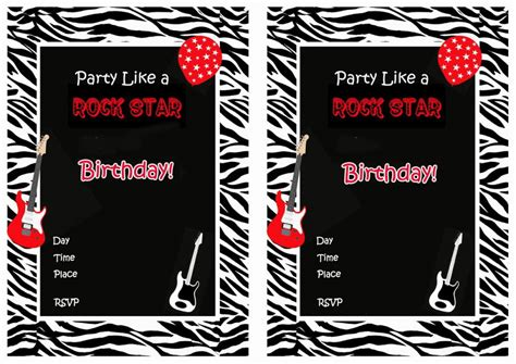 rock star birthday invitations birthday printable