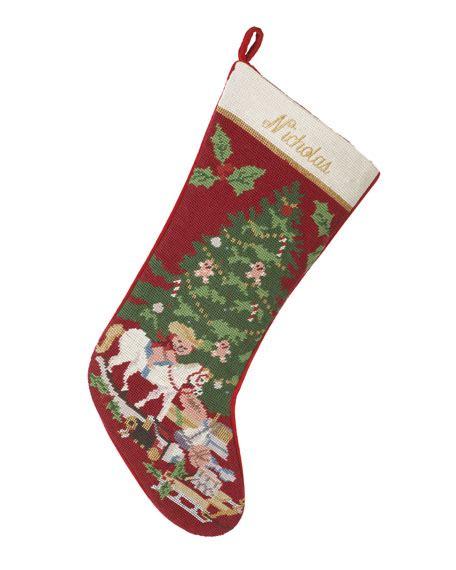 sferra holiday needlepoint christmas stocking personalized