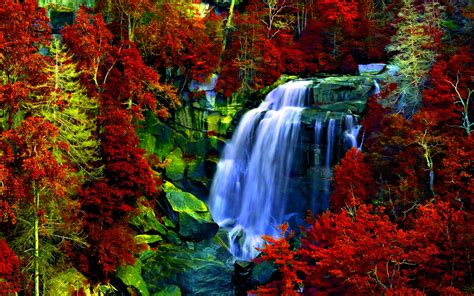 Waterfall Rocks Forest Red Leaves Background Hd