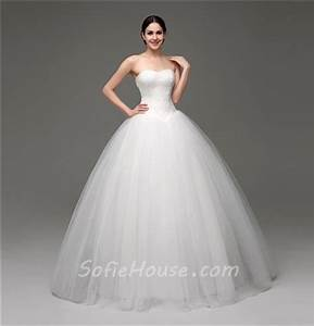 Simple Puffy Ball Gown Strapless Tulle Lace Corset Wedding ...