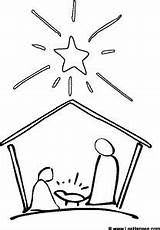 Nativity Christmas Coloring Simple Scene Pages Sketch Drawing Preschool Easy Draw Jesus Printable Crafts Stable Drawings Template Step Silhouette Pencil sketch template