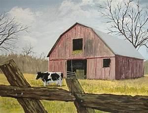 cow and barn painting by norm starks With barn painting cost