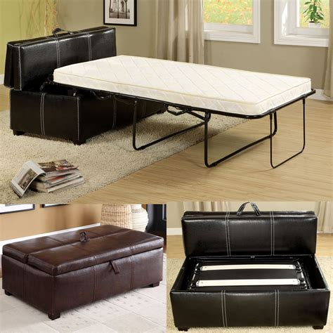 ottoman twin bed sleeper black brown leatherette storage ottoman bench twin