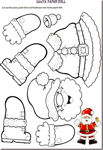 teaching the little ones english santa paper doll