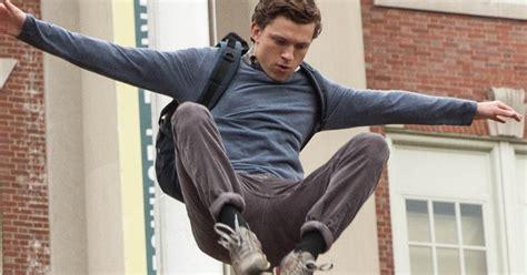tom holland leaps  peter parker  spider man