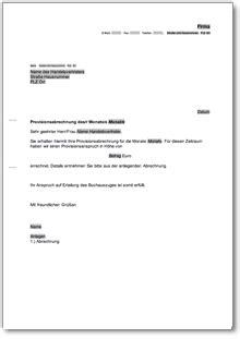 anschreiben provisionsabrechnung de musterbrief