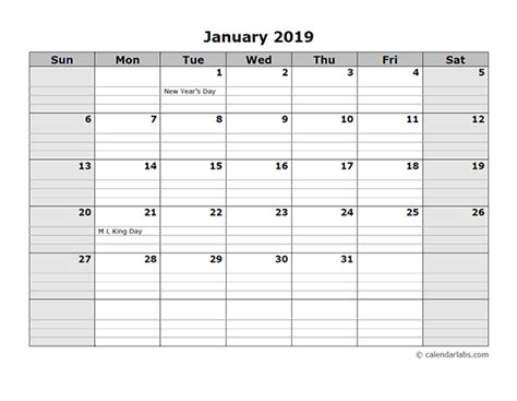 monthly calendar daily notes printable templates