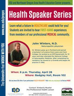paramedic science foundation degree health speaker series welcomes naturopath eastern oregon